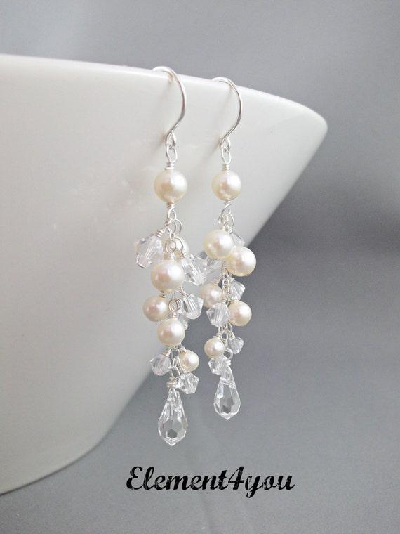 Ivory Pearl Earrings Wedding Bridal Earrings Ivory Pearl