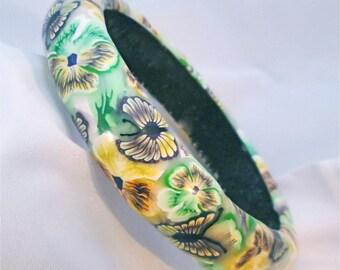 Pansy Bangle, Floral Bracelet, Polymer Clay Bangle, Millefiori Bracelet, Handmade Bangle, Custom Jewelry, Statement Bangle, Wearable Art