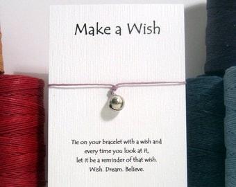 Wishing Bell Charm Bracelet on waxed Irish linen