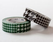 Discontinued - MT 2013 -  Japanese Washi Masking Tape SINGLE / Green or Dark Brown Brown Houndstooth