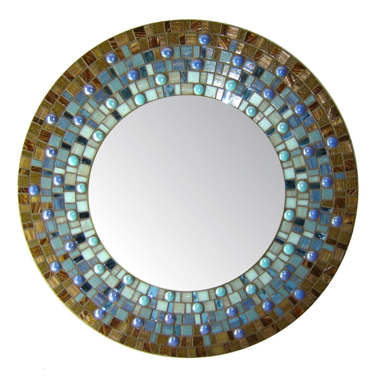 Blue brown mosaic mirror round by opusmosaics on etsy for Mosaic mirror