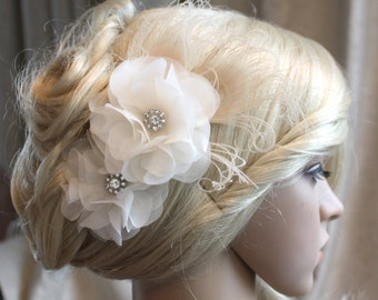 Silk organza flowers hair clip for wedding reception bridal party with Peacock Eye wedding hair piece - 2 ivory peonies