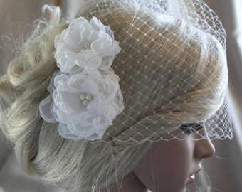 chiffon flowers with pearls hair clip and birdcage veil ( 2 items) wedding reception bridal party