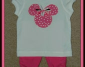 CLEARANCE-Minnie Mouse Hot Pink Applique Tee Shirt AND Matching Ruffle Capris...Size 12 mos...Birthdays, Disney Vacation