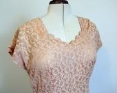 Vintage peach lace dress - 30s style - size M or L