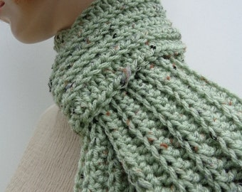 Scarf - Sage Green Scarf with Color Flecks - Womens scarf, Mens scarf, Green Scarf - Crochet scarf