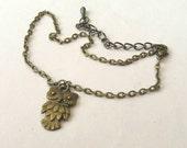 Owl Anklet, Owl Ankle Bracelet, Beach Jewelry, Owl Charm, Antiqued Bronze