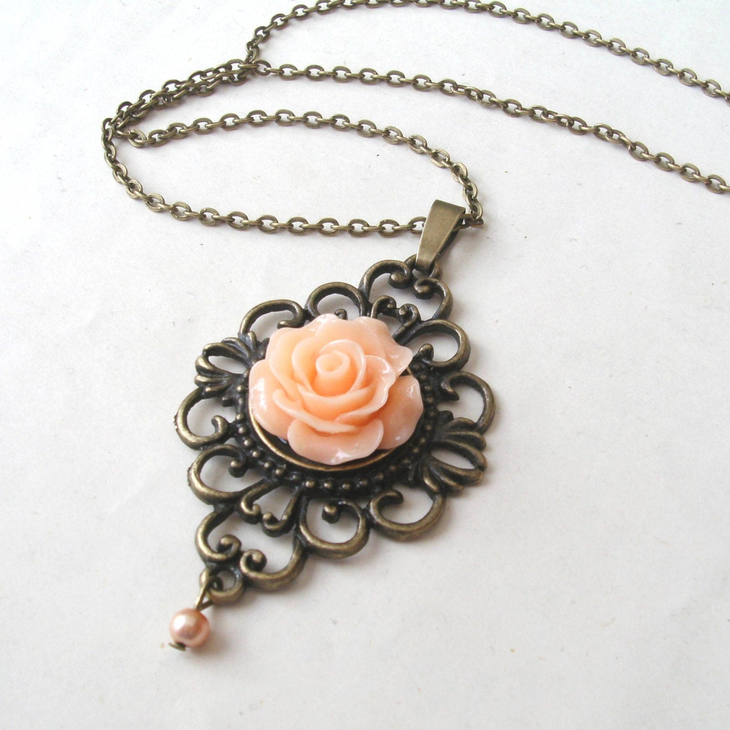 Peach Pearl Necklace: Peach Rose Necklace With Faux Pearl Drop Flower Necklace