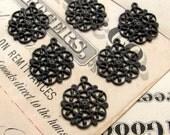 Antiqued brass filigree charms 14mm (6 snowflake charms) mandala charm, aged black patina, small pierced delicate, black brass charms