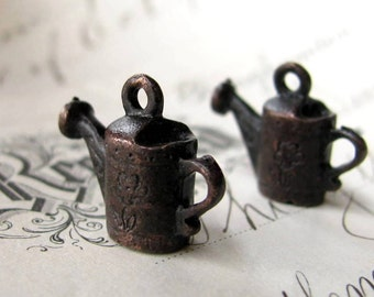 Watering can charm from Bad Girl Castings, 15mm, antiqued dark pewter (2 charms) water, backyard life, gardening, garden, nurture CH-SC-034