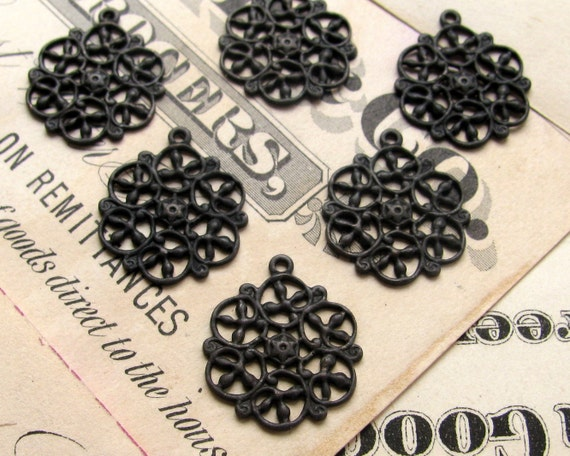 Antiqued brass filigree charms 14mm (6 snowflake charms) mandala charm, aged black patina, small pierced delicate, black brass charms