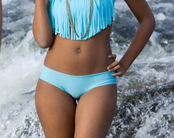 Fringe Bandeau Halter BIkini Top in Malibu Blue- Sz Sml- XL