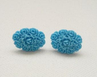 ns-Turquoise Oval Flower Bouquet Stud Earrings