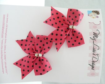 nhb-Small Hot Pink and Black Polka Dot Hair Bow Set w Rhinestones