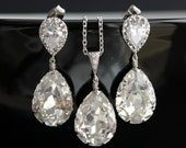 Wedding jewelry Bridal Jewelry Set with Swarovski Crystal Teardrop on Cubic Zirconia Silver Posts Bridal Crystal Jewelry