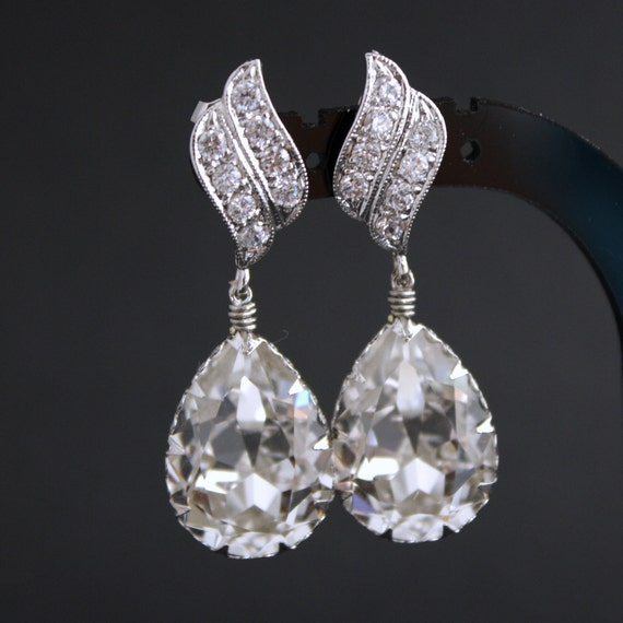 Bridal Earrings with Clear Swarovski Teardrops on Silver Cubic Zirconia Posts