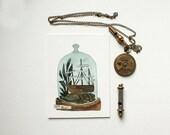 Set Sail - original watercolor terrarium painting