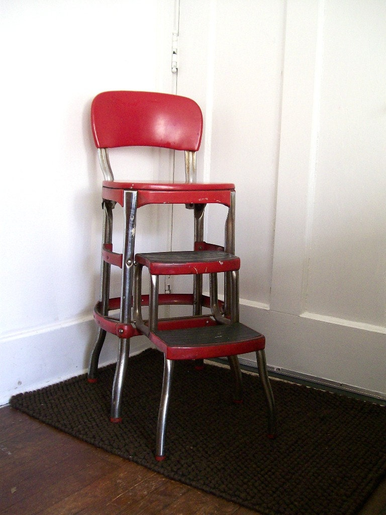 vintage red kitchen step stool cosco furniture retro mid