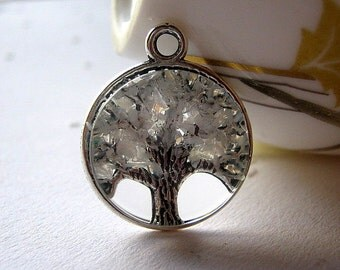 Opal Tree Necklace, October Birthstone Pendant, Iridescent Gemstone Charm, Silver White Willow Jewelry, Stained Glass Tree,