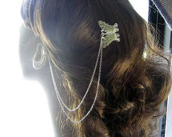 Stained Glass Butterfly Hair Comb, Ear Cuff, Comb Ear Cuff, Ear Cuff Hair Comb, Hair Cuff, Comb Cuff