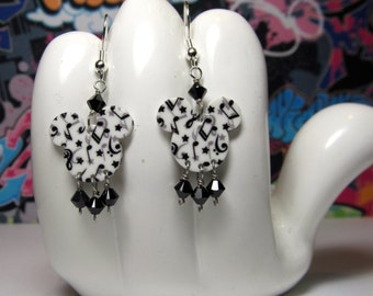 Mickey Mouse Musical Notes Double Sided Print Dangle Earrings