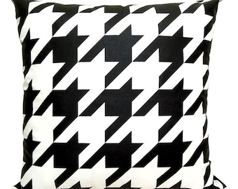 "New-Houndstooth Pillow Cover-Black printed in white cotton-19""(50CM)"