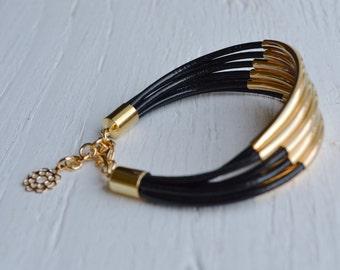 Black Leather Cuff Bracelet with Gold Tube Beads - Minamalist Design Multi Strand Bangle Women's Bracelet ... by  B A L O O S