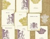 Whimsy Crest Vintage Style Printable ATC DIY Wedding Trading Cards Editable PDF