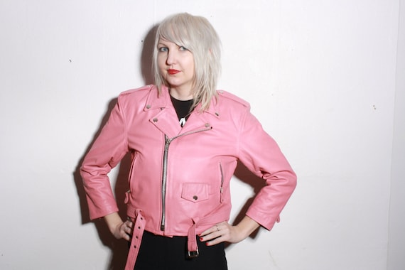 Vintage Pink Leather Biker Jacket