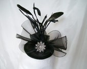 Black and Silver Vintage Victorian Gothic Style Crinoline Bow Feather & Rhinestone Wedding Fascinator Mini Hat - Custom Made to Order