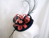 Coral Watermelon and Navy Blue Pheasant Curl Feather Sinamay Loop & Pearl Fascinator Mini Hat - 'Custom Made To Order