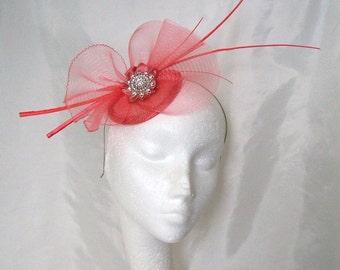 Coral Watermelon Feather Spine Crinoline & Rhinestone Headband Wedding Fascinator Mini Hat - Custom Made to Order