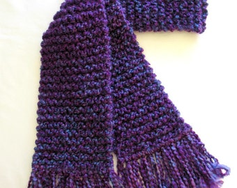 Purple Scarf, Long Chunky Knit Scarf, Knitted Winter Scarf for Men or Women, Bright Royal Purple Scarf, Violet Scarf