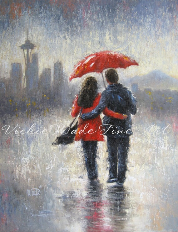 Seattle Lovers in the Rain art print Seattle rain space