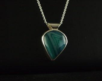 Sterling Silver Dark Green Onyx Agate Pendant