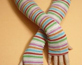 Long Striped Multicolor Armwarmers, Thin Boho Hippie Fingerless Gloves, Tribal, Dance, Tattoo Covers, Fall Sleeves
