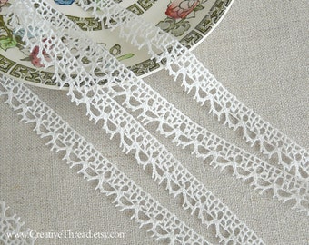 3 3/4 Yards - Narrow French Lace Edging - Scalloped Edge Trim - Cotton Cluny Lace - Bridal Lace Trim - Doll Dress Trim - WHITE  - No.213
