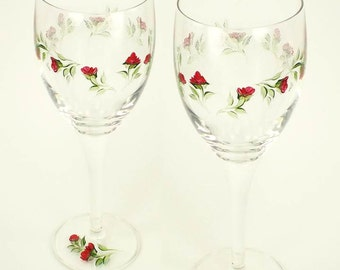 Elegant Hand-Painted Wine Glasses - Graceful Red Rose Buds, Green Leaves Set of 4 - Personalized Painted Wine Glasses
