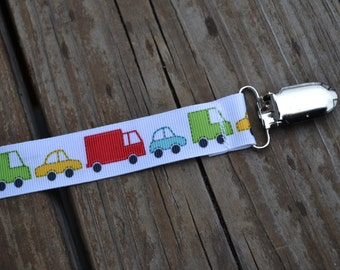 Ribbon Pacifier Clip- Cars and Trucks