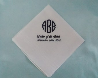 Personalized Handkerchief-Men's White 100% Imported Irish Linen-Custom Monogramming Included.