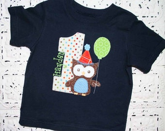 Sweet Owl Birthday  Shirt Now in NAVY - ALL Birthday Numbers are Available