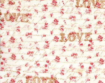LOVE vintage french script red floral ribbon hand stamped trim craft Muslin c780 . ....oohlala