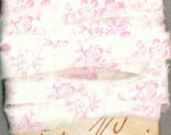 7 yards soft pink floral print ribbon hand torn rubber stamped paris tag 3/4  c816 . ....oohlala