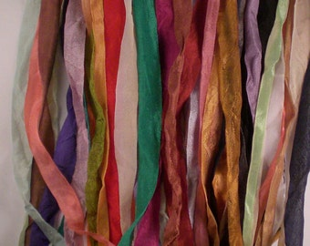 seam binding assorted 60 yards of crinkled tea dyed 2 yards each
