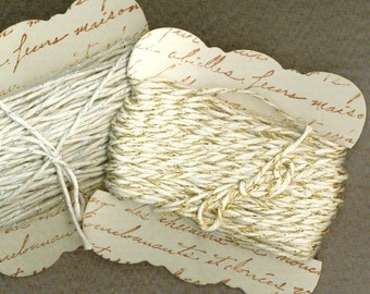 40 yards bakers twine gold silver platinum sparkle hand made ribbon card french script gift r871 . ....oohlala