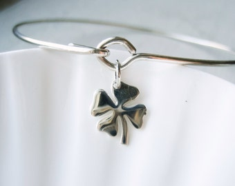 Four Leaf Clover Bangle Bracelet  - Sterling Silver Bangle - Shamrock - Luck Lucky