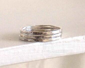 Wedding Band Rings, Stackable Band Rings, Rustic Band Rings, Hammered Rings, Slender Bands, Narrow Rings, Minimalist Rings, Sterling Silver