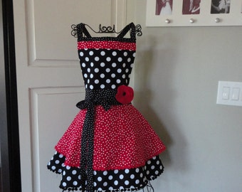 """Cadillac Red Dot   """"Annabelle Style""""   Retro Modern Womens Full Apron ~ 4RetroSisters"""