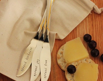 Cheese Knives, Jam Spreaders, Butter Spreaders Hand Stamped Silverware Spread Joy, Kindness, Love. Gold Accents Gifts Under 75