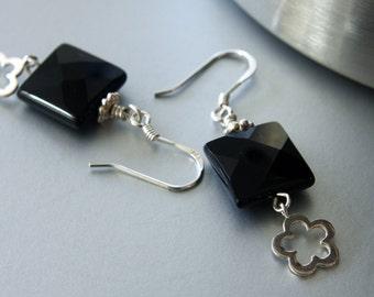 SALE 30% OFF, Black Onyx Earrings, Real Stone, Sterling Silver Earrings, Dangle Earrings, Long Earrings